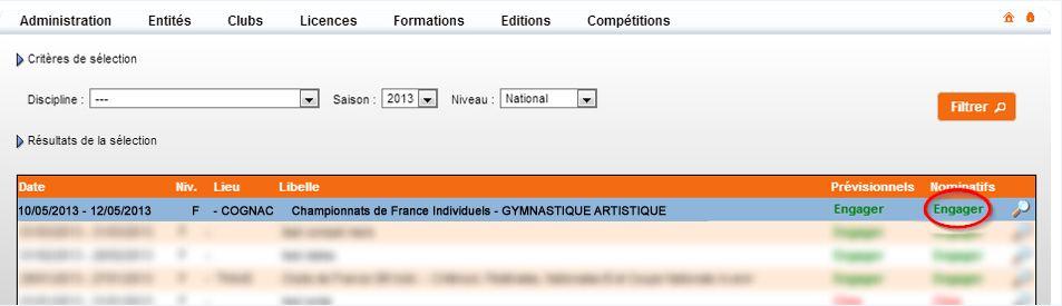 Procédure pour désinscrire les gymnastes dans une compétition individuelle